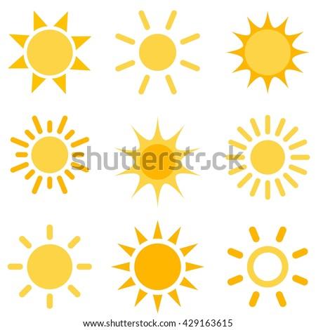 sun icons set. Raster version - stock photo