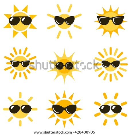 sun icons with black sunglasses. Raster version - stock photo