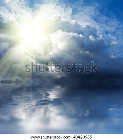 sun in a clouds - stock photo