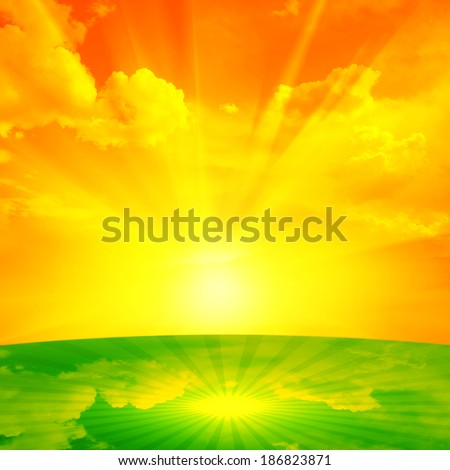 sun in a grass and clouds background