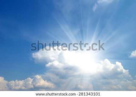 Sun in blue sky. - stock photo