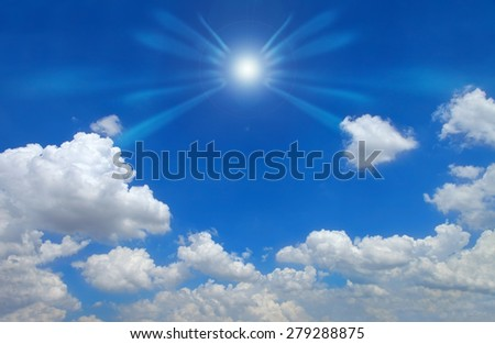 Sun in blue sky clouds,Blue sky with clouds.  - stock photo