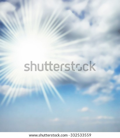 sun in cloudy sky background weather - stock photo