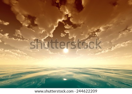 sun in golden clouds over turquoise sea - stock photo