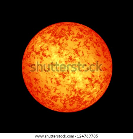 Sun in outer space with intense solar activity - stock photo