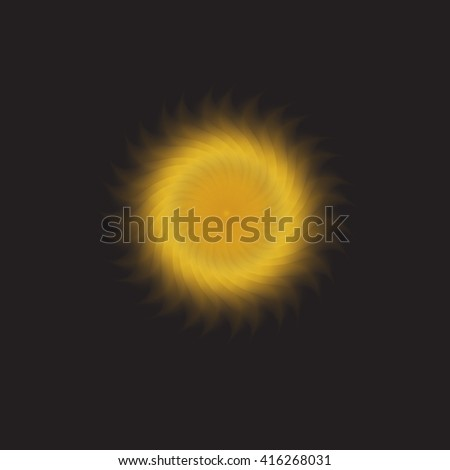Sun in the black sky background.  illustration - stock photo