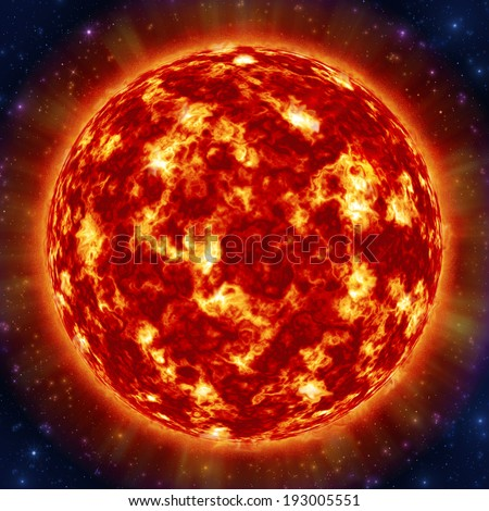 Sun in the space against stars - stock photo