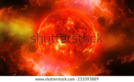 Sun in universe or space, sun and galaxy in a nebula cloud (Elements of this 3d rendered image furnished by NASA) - stock photo