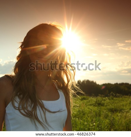 sun in woman hair - stock photo