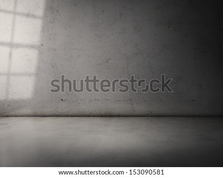 sun light on a cement wall - stock photo