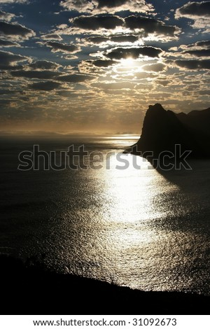 Sun light reflecting off the sea in Cape Town - stock photo