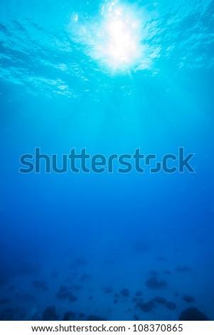 sun light underwater - stock photo