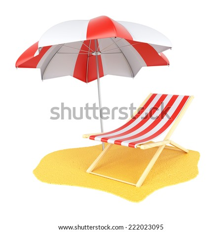 Sun lounger and parasol isolated on white background. 3d rendering image - stock photo