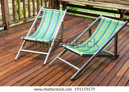 sun loungers stand on the terrace