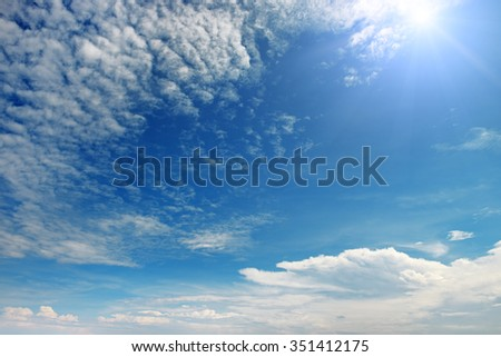 sun on beautiful blue sky - stock photo