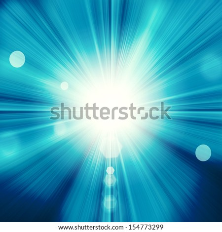 Sun on blue sky with lenses flare - stock photo