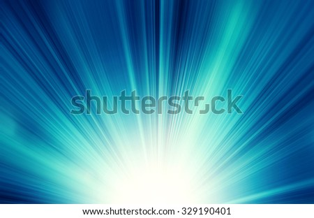 Sun on blue sky with lenses flare - stock photo