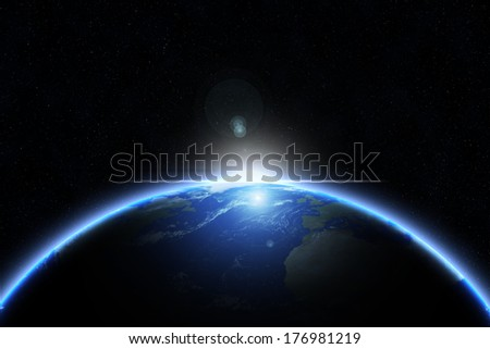 Sun on earth - earth texture by NASA.gov - stock photo