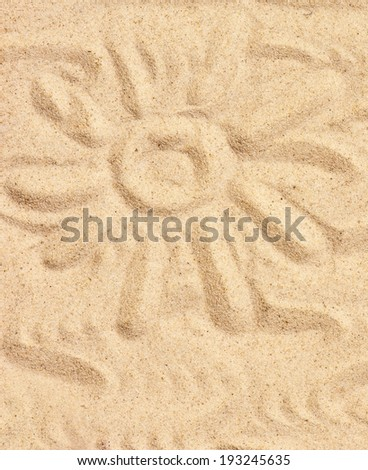 Sun on sand on beach holiday background  concept