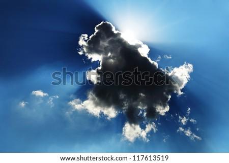 Sun on the dark sky. - stock photo