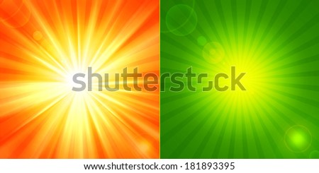 sun orange and yellow green sky  background