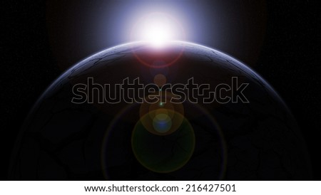Sun over a cracked frozen blue planet Earth on a dark sky and little stars - stock photo