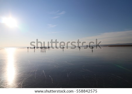 Sun over frosted  lake Neusiedl, Neusiedler See, Austria