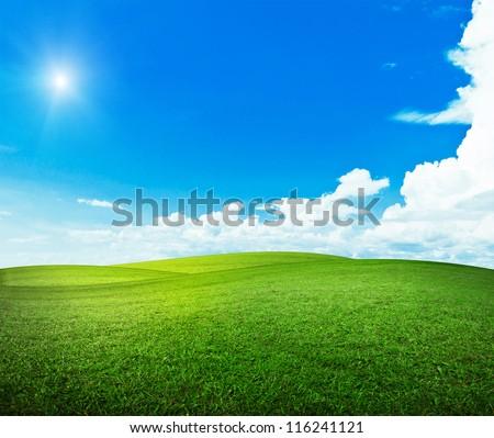 Sun over hills. Summer good weather - stock photo