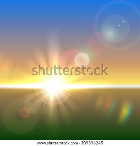 Sun over horizon with lens flares and refraction - stock photo