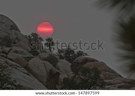 Sun over rocks in Joshua Tree National Park.  There were nearby fires this day, which gave the sun a pink coloration. - stock photo