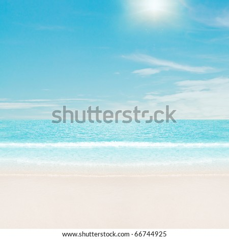 Sun over tropical beach - stock photo