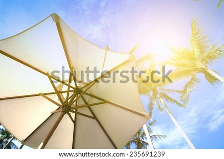 Sun parasol under coconut trees against blue sky on a very hot day. - stock photo