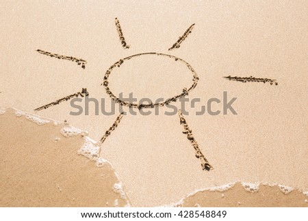 Sun pictured on the sand of coastline - stock photo