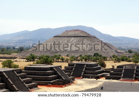 Sun piramid - view from Moon piramid in Teothuacan, Mexico - stock photo