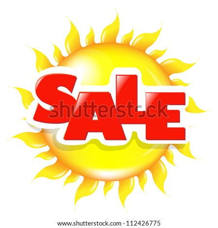 Sun Poster Sale, Isolated On White Background - stock photo