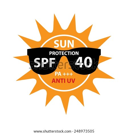 Sun Protection With Anti-UV, SPF 40 PA+++ On Sun And Black Sunglasses Icon Isolated On White background. - stock photo
