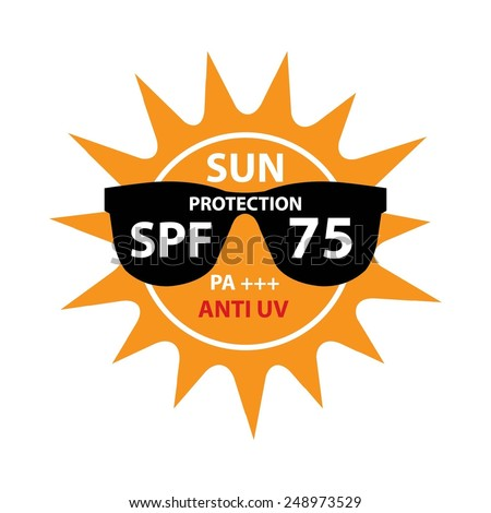 Sun Protection With Anti-UV, SPF 75 PA+++ On Sun And Black Sunglasses Icon Isolated On White background. - stock photo