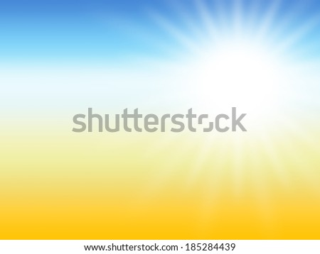 sun ray summer desert background, yellow and blue colors