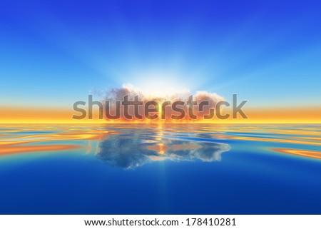 sun rays in cloud over calm sea - stock photo