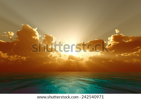sun rays in golden clouds over blue sea - stock photo