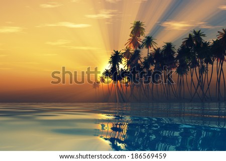 sun rays inside coconut palms island on tranquil tropic sea - stock photo