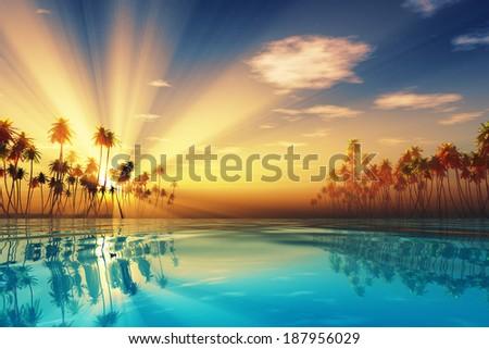sun rays inside coconut palms island on tranquil tropic sea - stock photo