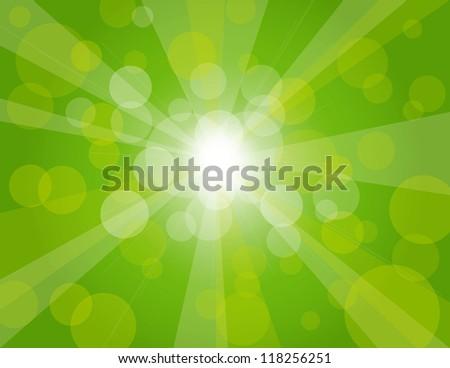 Sun Rays on Green Spring Bokeh Circles Background Raster Vector Illustration - stock photo