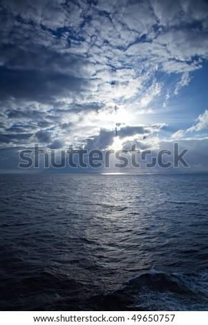 Sun Rays on the Caribbean Sea - stock photo