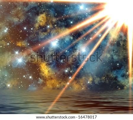 Sun rays over abstract background - stock photo