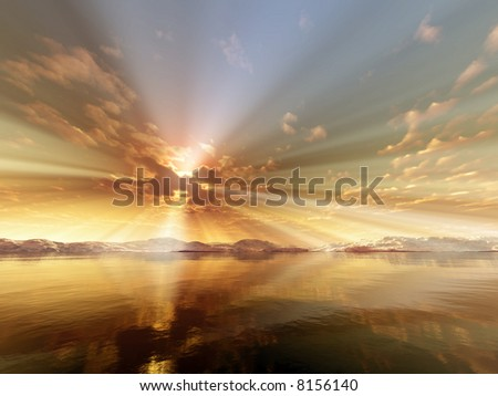 sun rays over the sea - stock photo