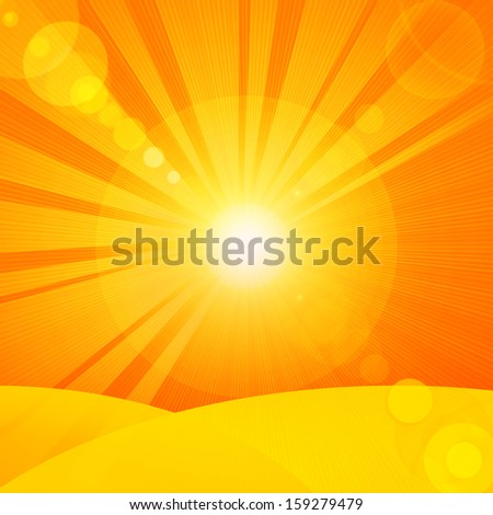 sun, rays,sand, orange yellow background
