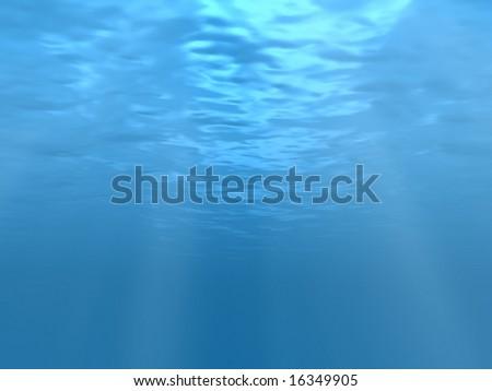 Sun rays under water - stock photo
