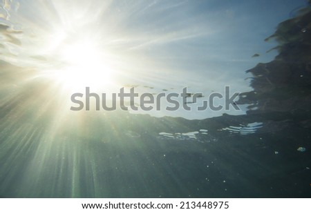 sun rays under water  - stock photo