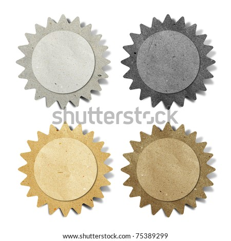 sun recycled paper stick on white background - stock photo